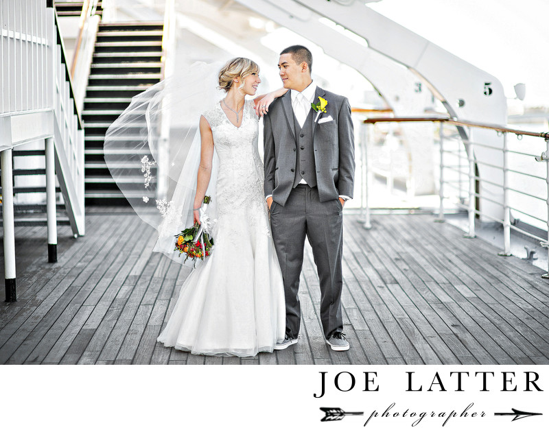 Long Beach Wedding Photograps on the Queen Mary