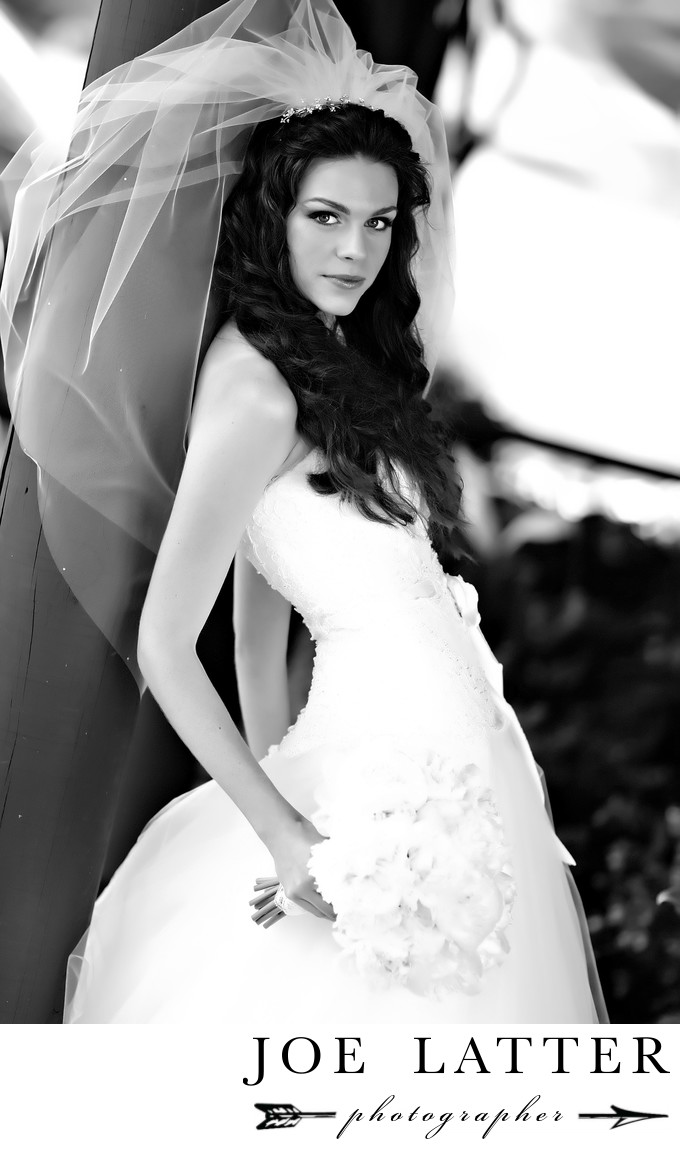 Artistic black and white high-fashion image of a young bride.
