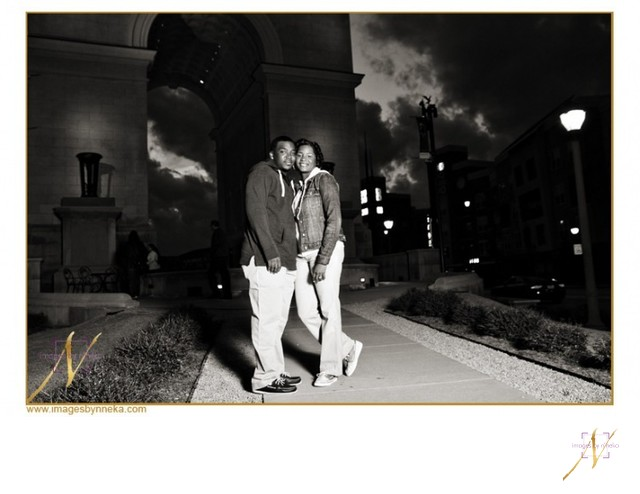 Atlantic Station Engagement Portrait at Night