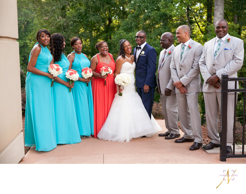 Colorful wedding party portrait