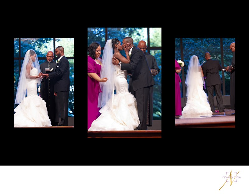 First Kiss during wedding at the Carter Center