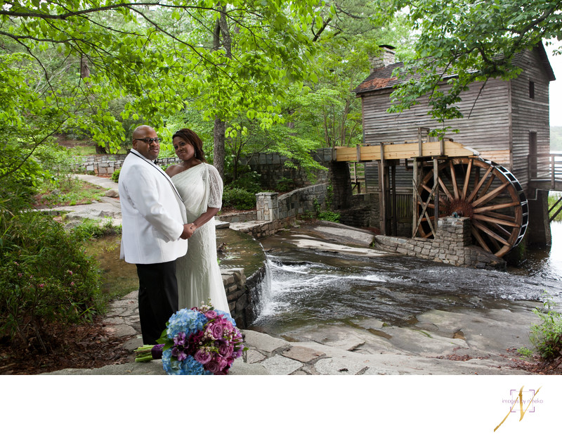 Bride and Groom at Stone Mountain Grist Mill
