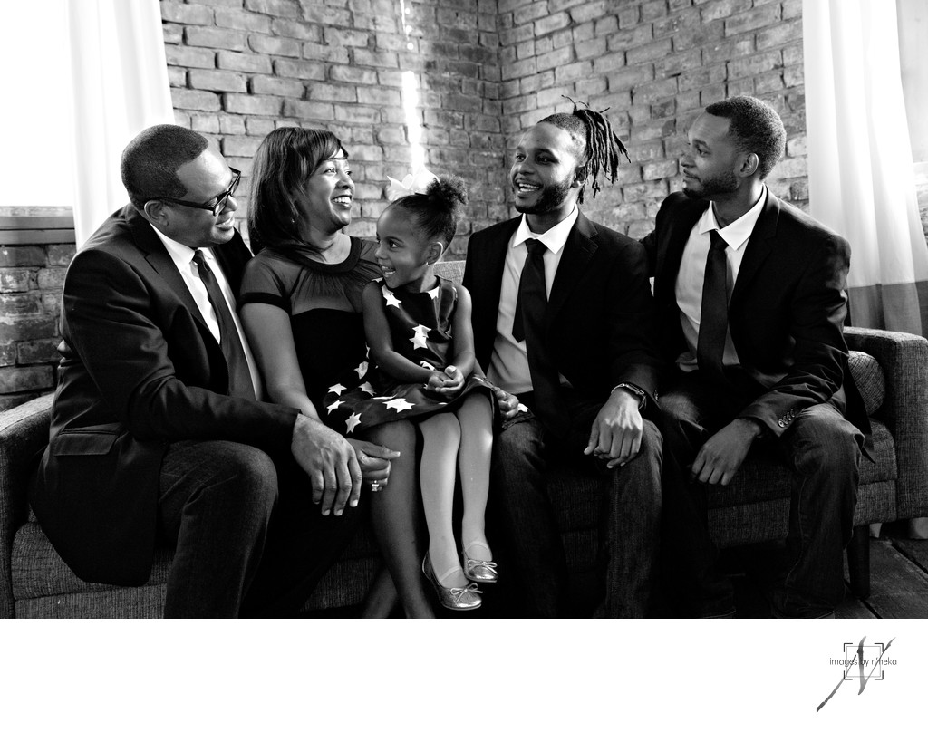 Black and White Family Portrait in Studio