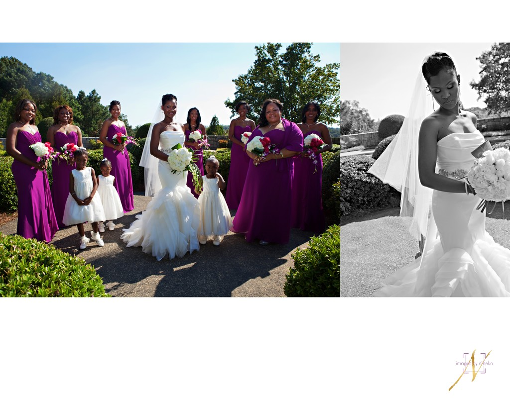 Bride with bridesmaids at the Carter Center