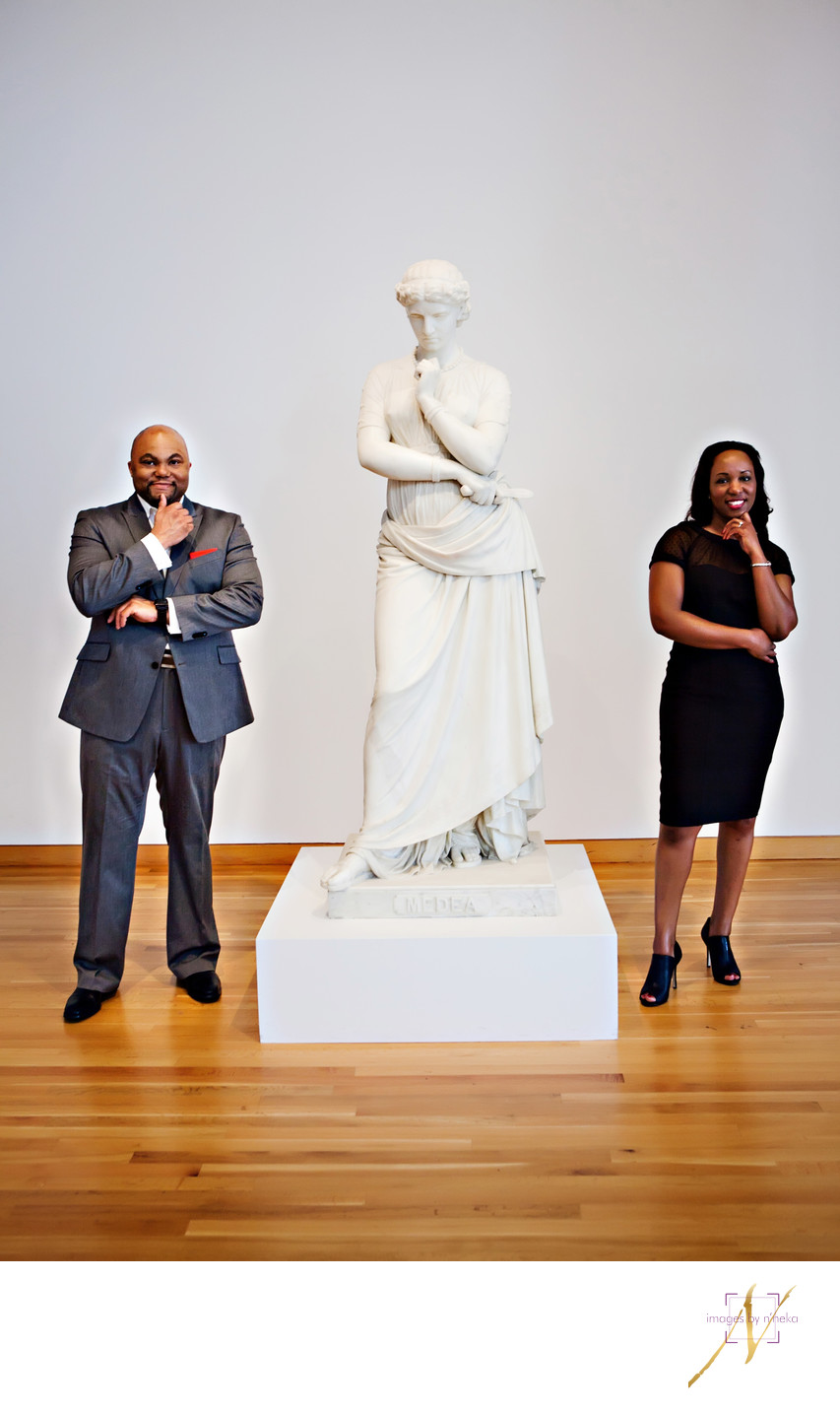 Engagement photo at the High Museum