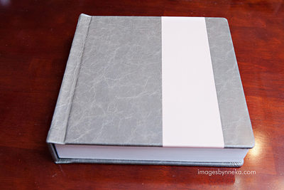 Wedding album with two toned leather cover