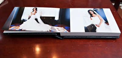 Leather wedding album inside