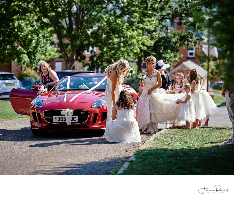 Bride Wedding Car Wedding Photograph Leicestershire