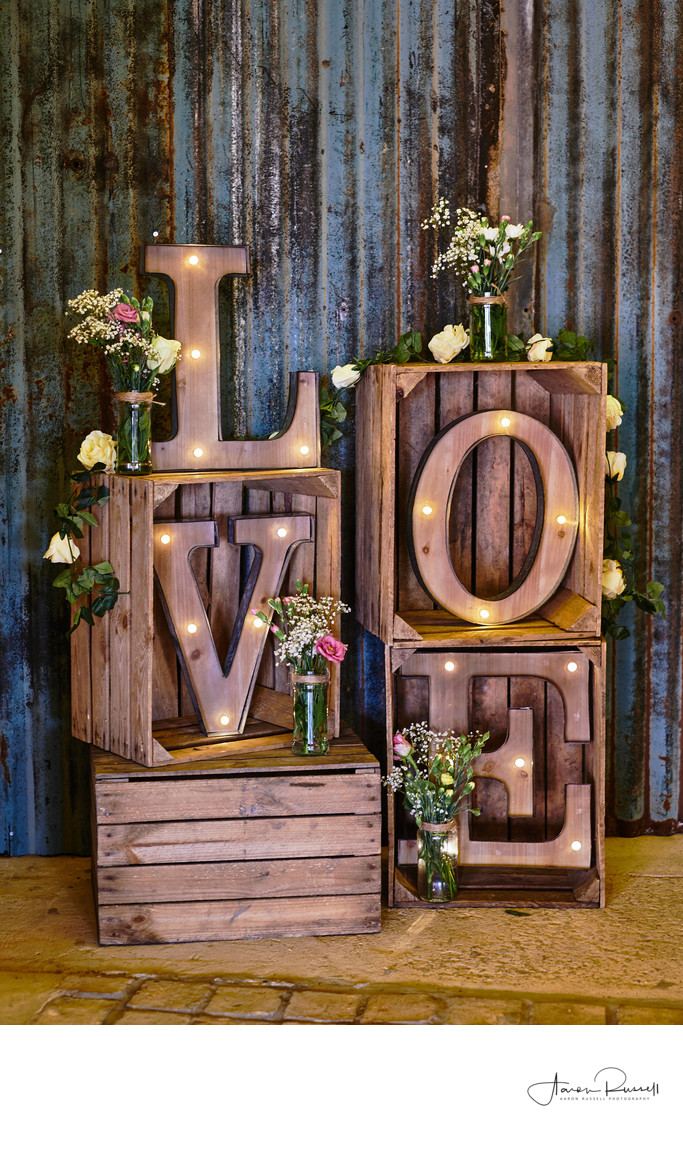 Wooden Wedding Love Letters Derbyshire Photography