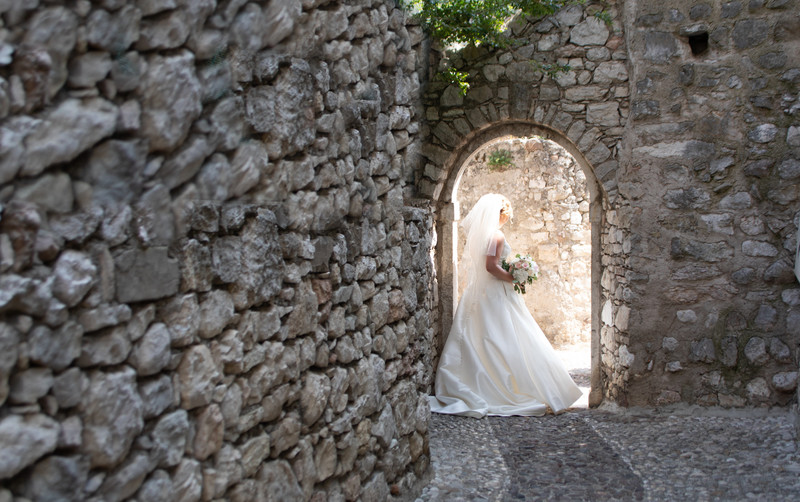 Malcesine Archway with bride.