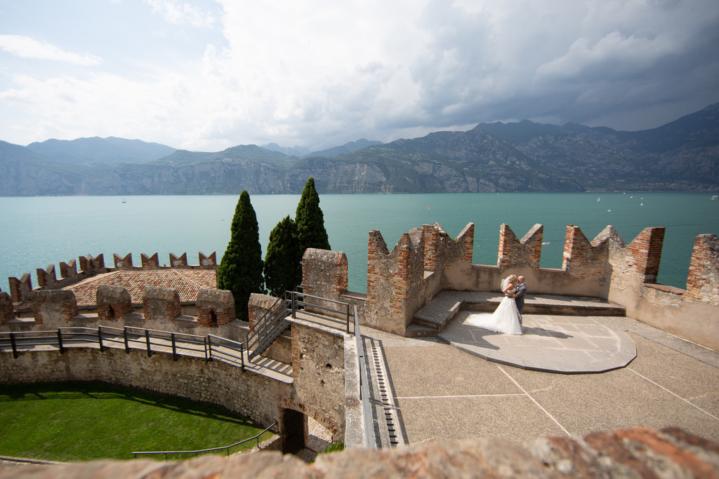 Ariel view of the Dancing Terrace in Malcesine Castle