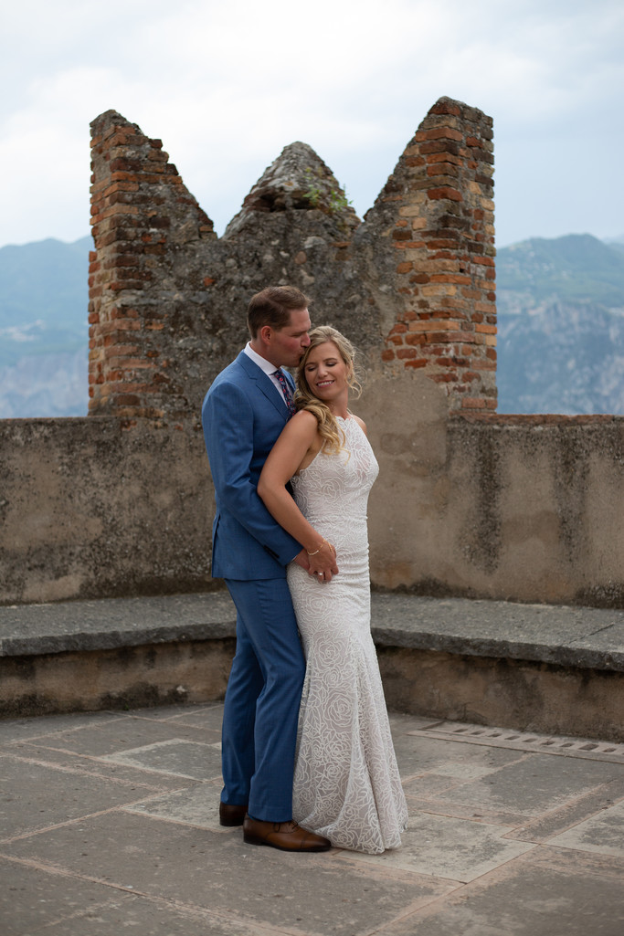 Meredith and Danny having a moment in Malcesine Castle.