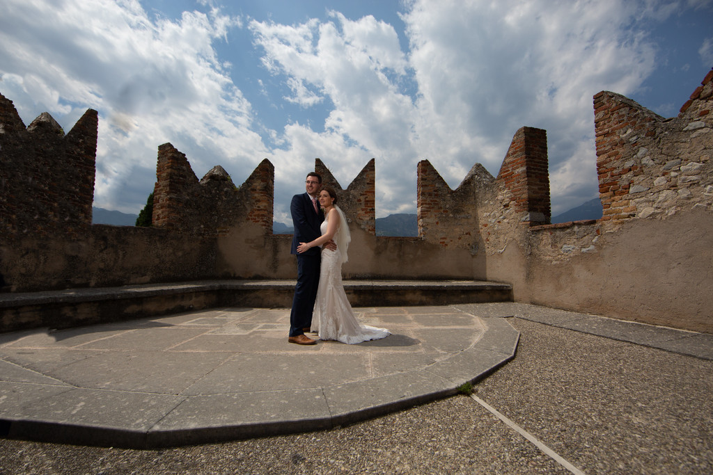 Emma and Chris on the terrace of Malcesine Castle