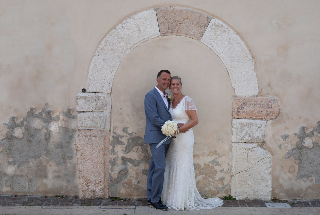 Bride and Groom in Lazise Old Town, Lake Garda