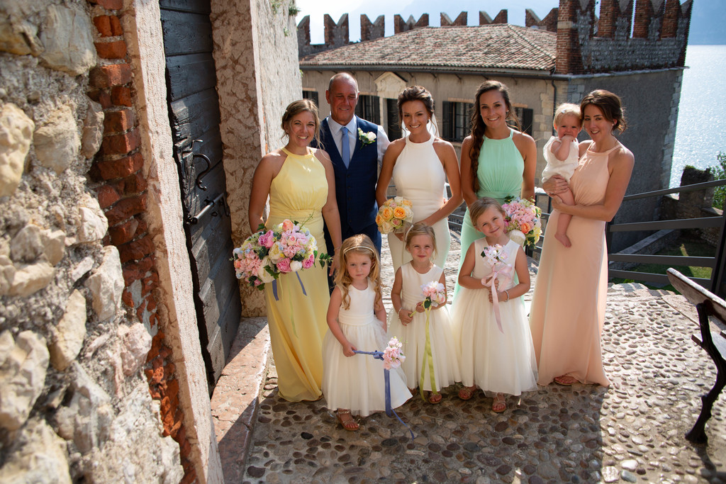 Kim & Gareth's wedding in Malcesine Castle, Bridesmaids