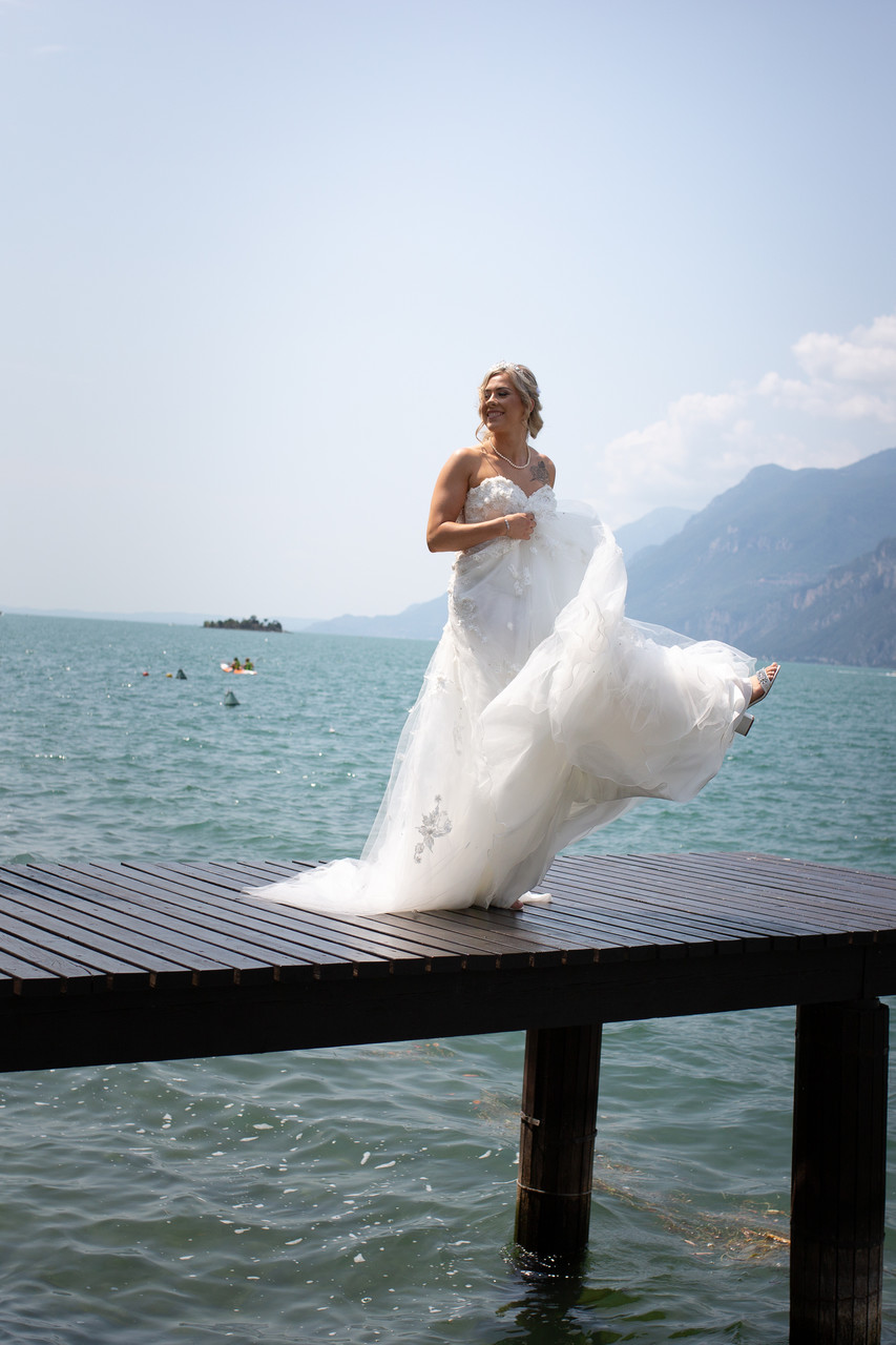 Swirling the dress on the jetty