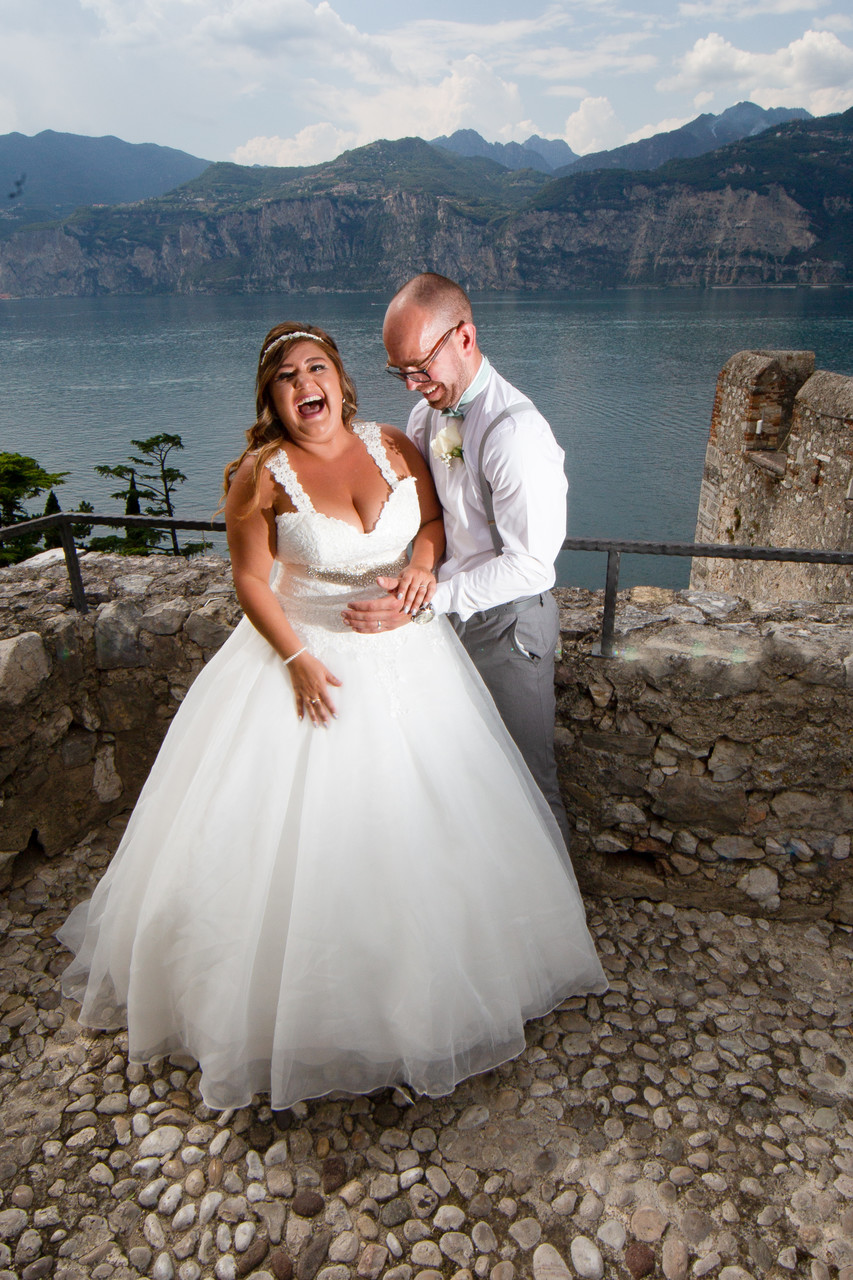 Laughters on the wedding terrace of Malcesine Castle