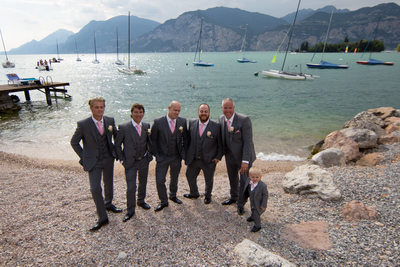 Groom and Groom's men in Malcesine by the lake