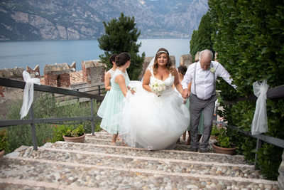 Few more steps to reach the groom in Malcesine Castle