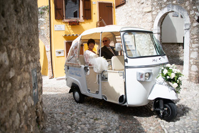 Diane and her Dad in the Malcesine Tuk Tuk