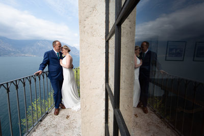 Margaret & Colin on the balcony in Malcesine Castle