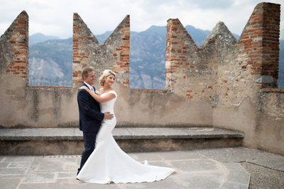 Claire and Adam in Malcesine Castle, Lake Garda