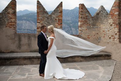 Claire and Adam dancing in Malcesine Castle, Lake Garda
