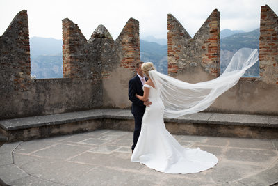 Claire and Adam on Malcesine Castle, Italy
