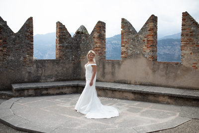 Claire on Malcesine Castle Terrace, Lake Garda