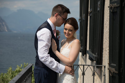 Emma and Chris on Malcesine Castle Balcony