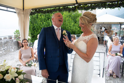 Caroline & Gus, laughing as the ring didn't fit