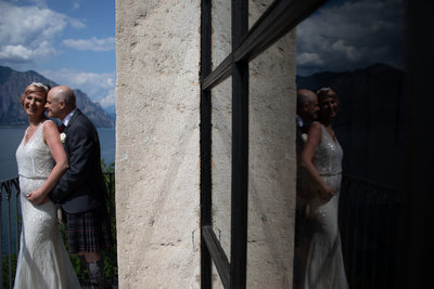 Reflection of a lovely wedding moment