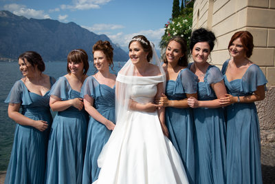 Roxanne and Anthony Bridal Party in Italy Lake Garda