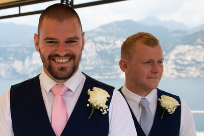 Chris, waiting for his bride in Malcesine Castle