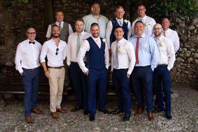 Chris and his groom's men, Malcesine Castle