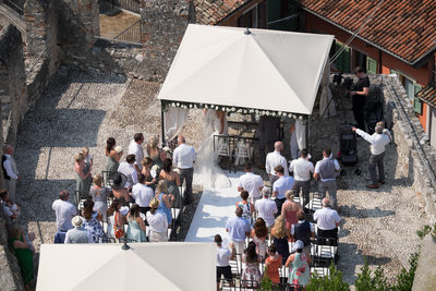 Ariel view of Malcesine Castle Terrace with guests
