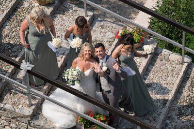 Fun Ariel view of the bride and groom Malcesine
