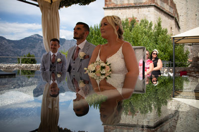Happy Wedding Reflections in Malcesine, Italy