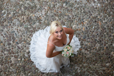 Beautiful bride from above in Malcesine