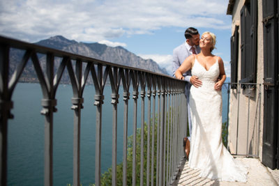 Gemma and Mark, Balcony of Malcesine Castle, Italy