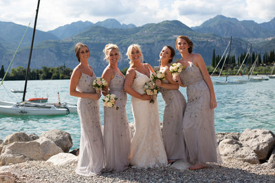 Bridesmaids having fun on Malcesine Beach