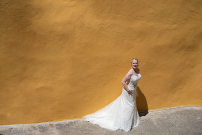 Stunning bride looking forward to the wedding ceremony