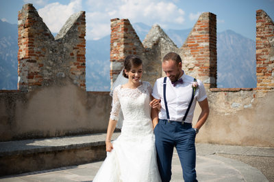Lisa and Josh, Castle,  Lake Garda, Malcesine