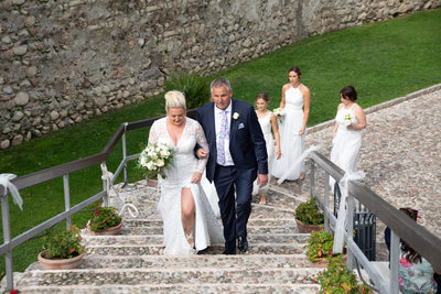 Reaching the wedding terrace overlooking Lake Garda