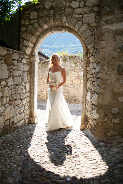 Chrissie in a stone doorway