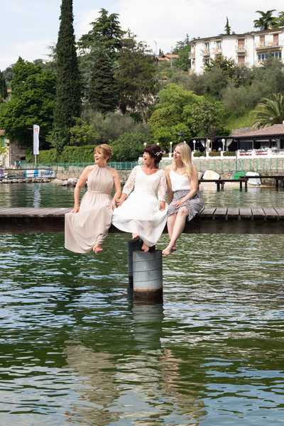 Diane and her girls on the pier in Val di Sogno