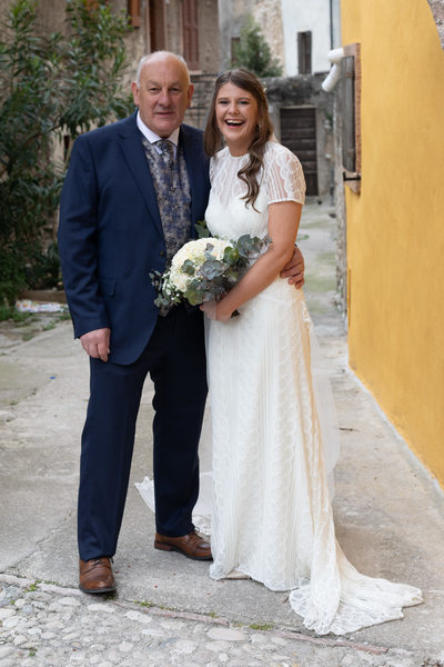 Happy Bride and her dad in Malcesine