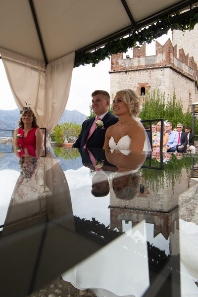 Emma & Matt -  The ceremony in Malcesine Castle