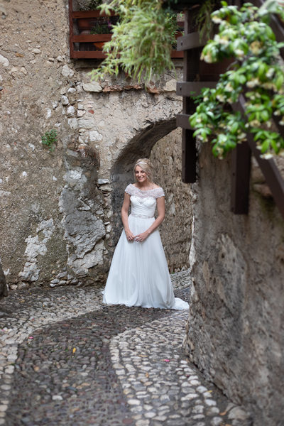Emma in the narrow streets of Malcesine Village