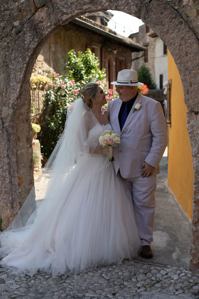 The Bride and Her Dad in Malcesine.